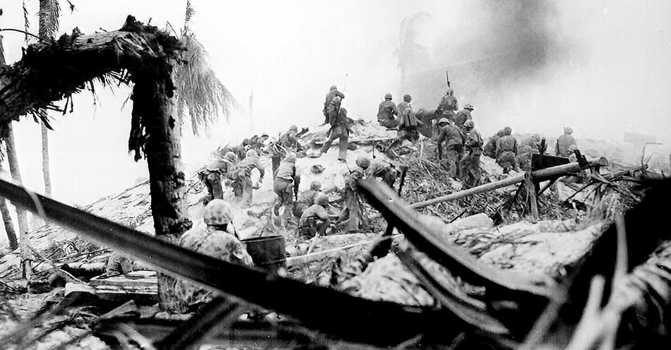 American Marines storming a hill on the Pacific island of Tarawa in World War II