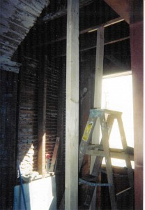 gutted powder room during