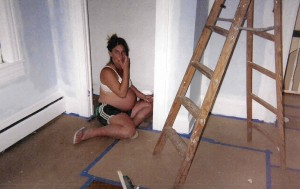 2005 :: my pregnant wife painting trim
