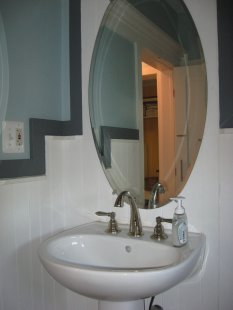 Saved. This pedestal including the faucet + the mirror were going into a dumpster.