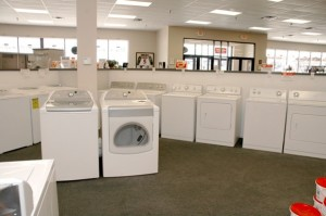 white washer and dryers at a Warners' Stellian showroom Photo courtesy of Warners' Stellian