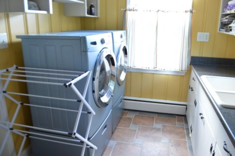 washer and dryer with drying rack