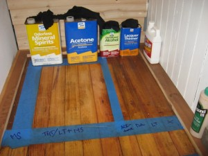 Solvents used to strip hardwoods Mineral Spirits, Acetone, Lacquer Thinner, Denatured Alcohol