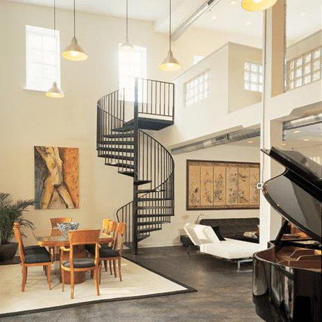 spiral staircase in Ridgely's Delight, Baltimore converted warehouse