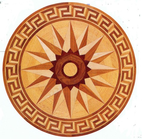 the Greek Key in a Wood Floor Medallion image provided by Regina Garay