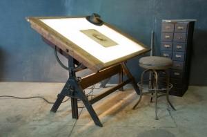 1920s Oak Iron Drafting Table Lit via Modern 50