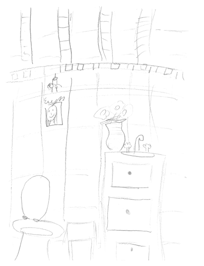 a seven-year-old's rendering of a Hall Bath