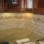 brick style backsplash installed not grouted