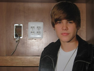 Justin Bieber Next to an Electrical Outlet in our hutch