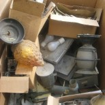 ibid :: old electrical supplies and fixtures in large box for donation