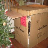 shipped vanity inspected and sitting under the tree