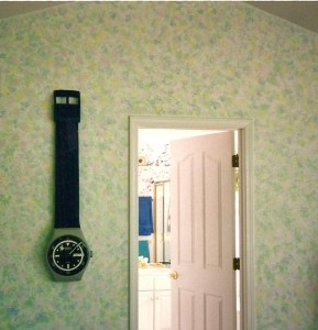 Large Watch-like Clock on Green Print WallCovering via theDecorGirl source :: unknown