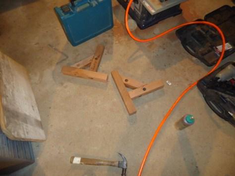 Assembled Shelf Brackets from Salvaged Teak