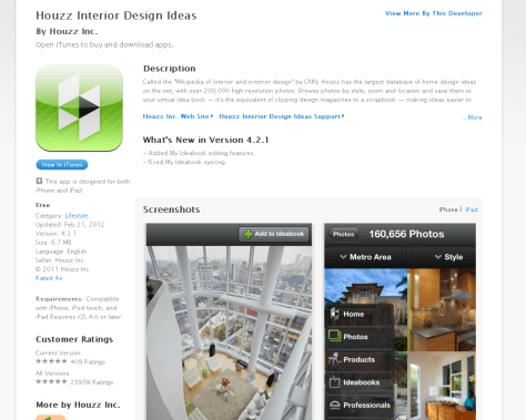 Houzz in the iTunes Store