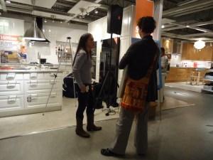 Alex Bandon with an Ikea Customer