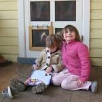 Girls on Porch DIY Pet Door