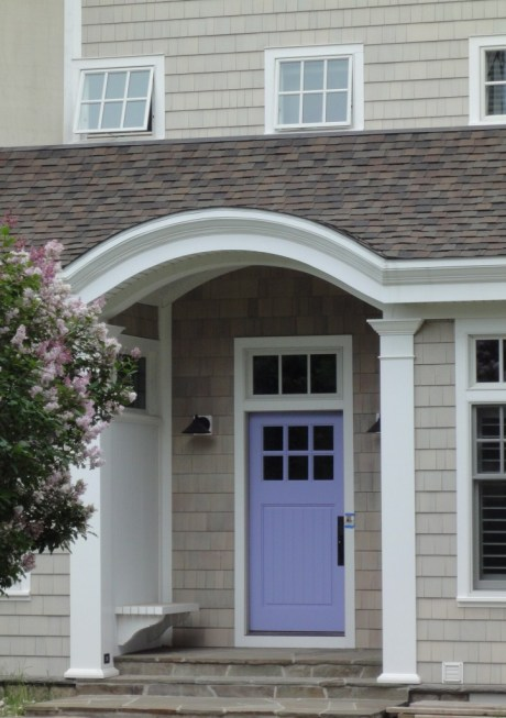 DIY Summer Decorating Ideas :: Powder Blue Front Door under Arched Portico