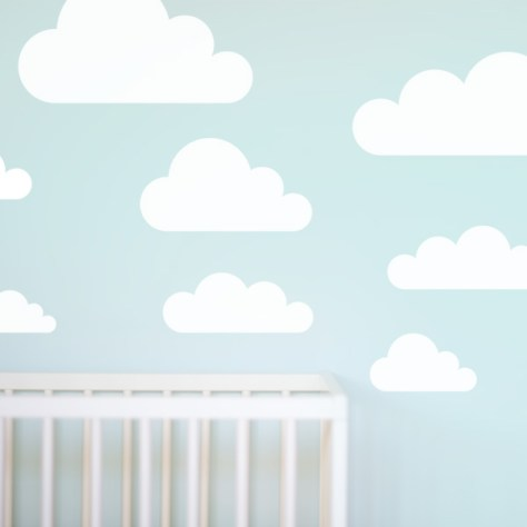 Simple Clouds Kids Wall Decal with Crib