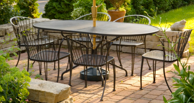 Black Metal Patio Furniture Concrete Pavers Patio