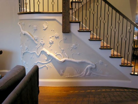 Vine and Tree Drywall Art at Stairway