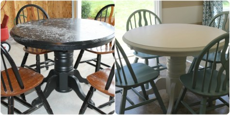 Refinishing Furniture with Paint :: Before and After Refinished Table with Paint