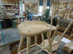 high stool under construction Thos Moser workshop