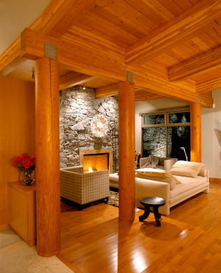 winter remodeling post and beam via Brad Scott Construction