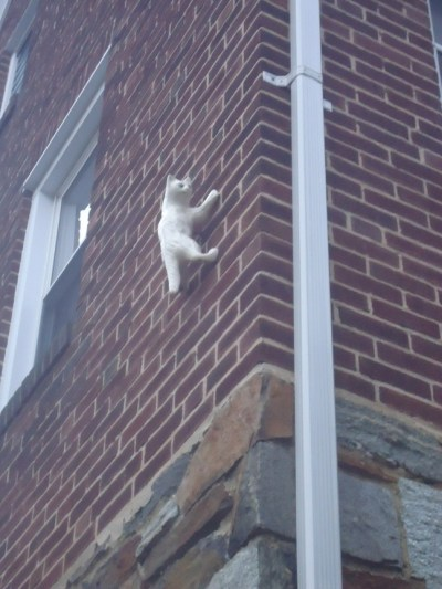 single ceramic climbing cat