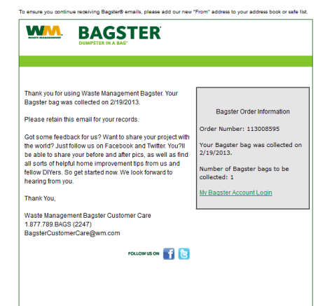 Bagster Bag Collection Confirmation