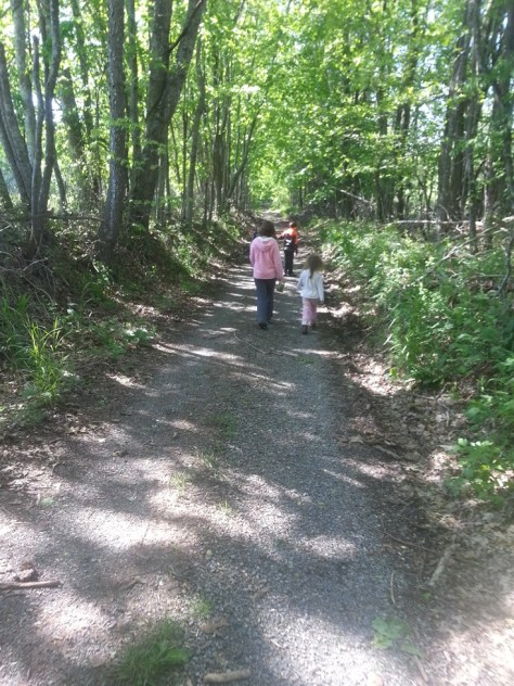 the kids walking down a country road