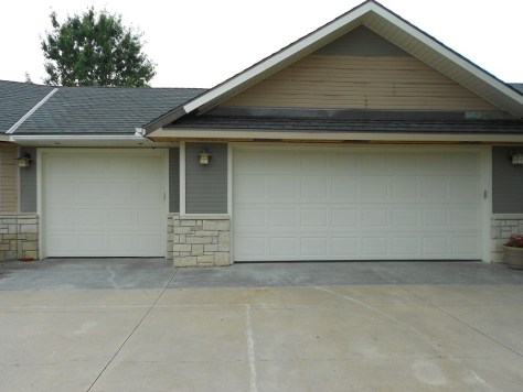 metal paneled garage door before