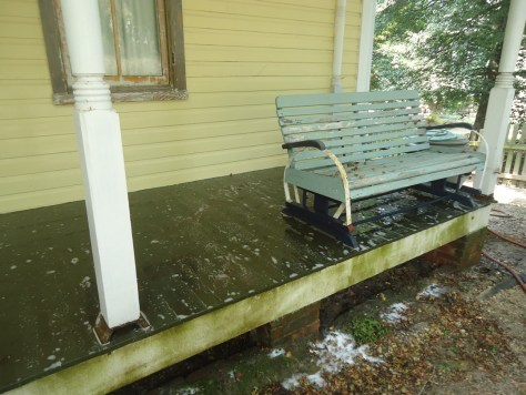 side porch pressure washed solution applied