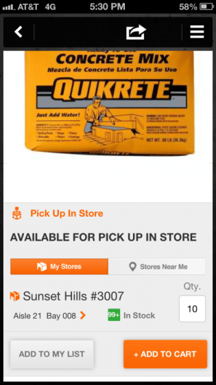 Home Depot Pro App - Availability in Store