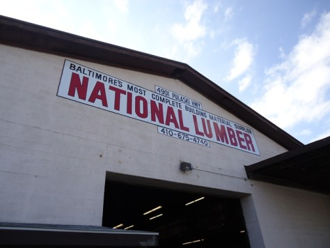 National Lumber Baltimore sign on outbuilding