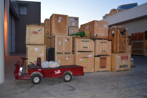 Boxes and a Red Motor Cart