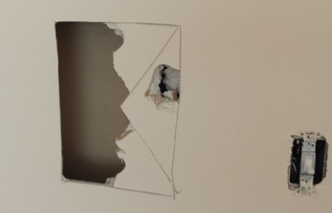 cutting an exploratory hole