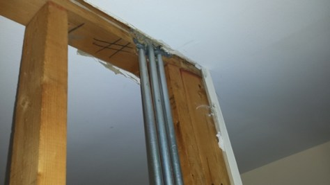 electrical conduit in a framed wall