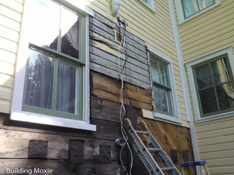Repairing Dutch Lap Wood Siding damaged below paint