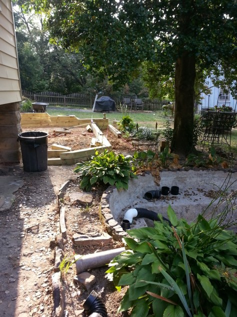 Paver Patio in Progress Concrete Pond