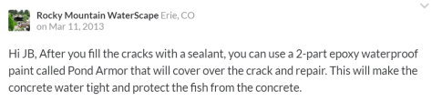Comment from Rocky Mountain WaterScapes