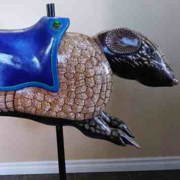 Hand Carved Armadillo Seat