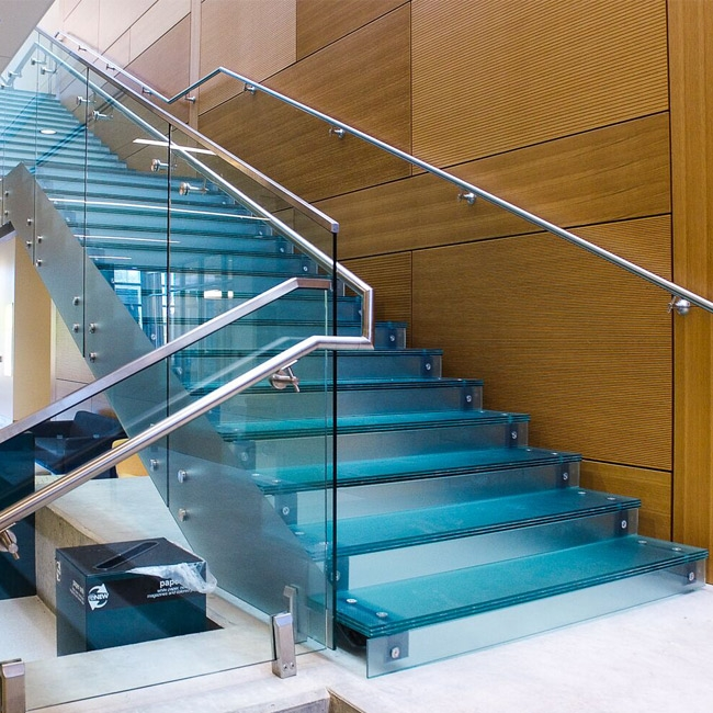 Residential Commercial Steel Stringer Unti Skid Frosted Glass   Stainless Steel Glass Staircase   House   Ultra Modern   Curved   Mirror   Design