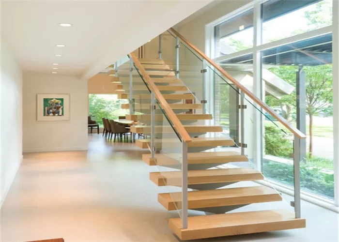 Safety Internal Modern Straight Staircase Wood And Glass   Staircase Wood And Glass   Commercial Wood   New   Ash Wood   Simple Glass   Glass Bal