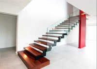 Red Stable Open Riser Wood Stairs , Building Floating ...