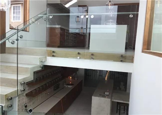 Indoor Side Mount Frameless Glass Railing Glass Stair Balustrade | Frameless Glass Stair Railing | Metal | Seamless Glass | Handrail | Framed Glass | Office