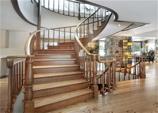 Elegant 38Mm Open Wood Stairs Glass Railing Curved Wooden | Wood And Glass Staircase | Stair Case | Simple | Spiral | Small | Light Oak Glass