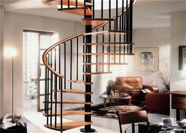 Contemporary Loft Spiral Staircase Steel And Wood Prefabricated   Wooden Spiral Stairs Design   Different Style   Circular   Curved   Space Saving   Easy Diy