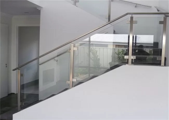 Top Mount Stainless And Glass Balustrade Staircase Steel Railing   Staircase Handrail Glass Designs   Crystal   Work   Steel   White Modern Glass   Stairs Side Grill