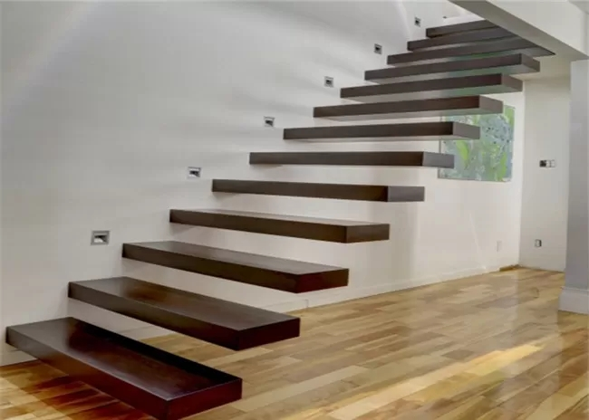 Wooden Steps Floating Steps Staircase Residential Indoor Stairs | Handrails For Steps Indoors | Staircase Around Lift Wall | Glass Panel Stainless Steel Handrail | Narrow Staircase Brushed Nickel | Width Hand | Minimalist
