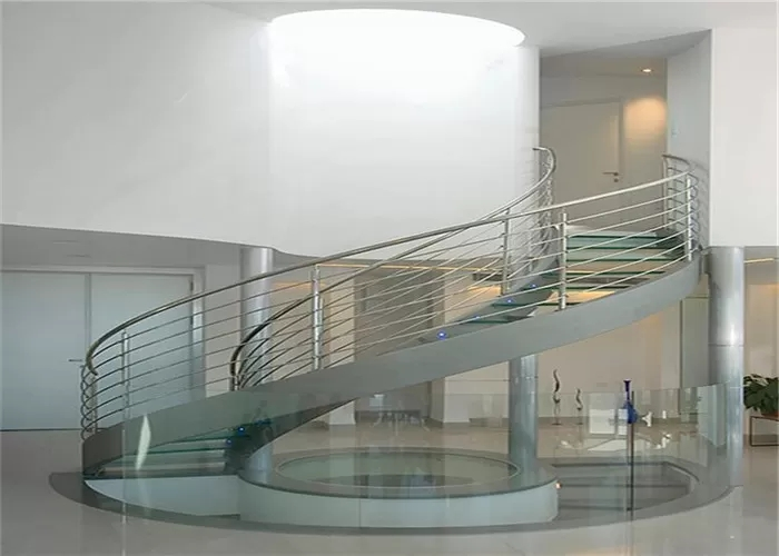 Double U Channel Stringer Modern Spiral Staircase Curved Wooden | Spiral Staircase With Glass Railing | Exterior | In India Staircase | Stair Wood Bracket | Glass Insert | Inside Glass